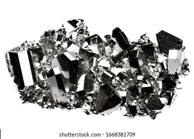 99.99 fine ruthenium crystal grown by vapour deposition isolated on white background
