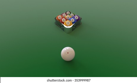 9-Balls Pool Setup - Front Perspective View /w rack