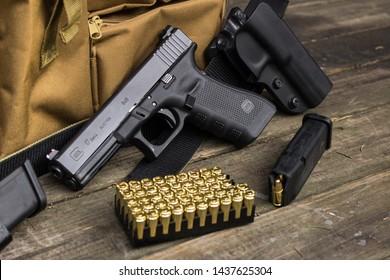 9mm 9x19 luger caliber live ammunition with golden cartridges for handgun pistol glock