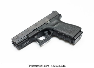 9mm glock 19 handgun on white background