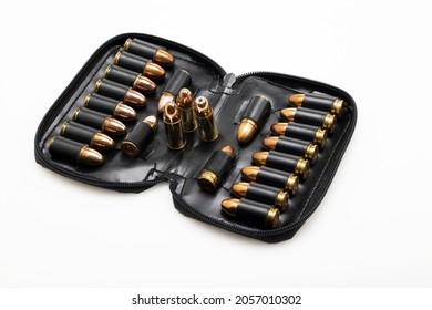 9mm gun pistol bullets kept in black leather pocket