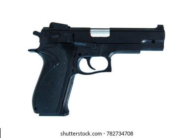 9mm handgun barrel facing right
