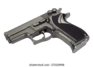 9mm handgun isolated on white