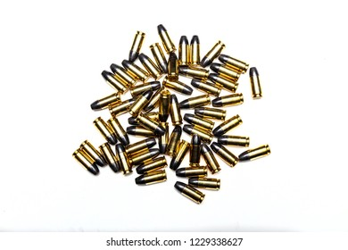 9mm hollow point bullets for a gun isolated on a white background