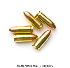 9mm pistol bullets isolated on white background.