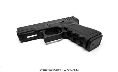 9mm pistol with standard magazine on white background