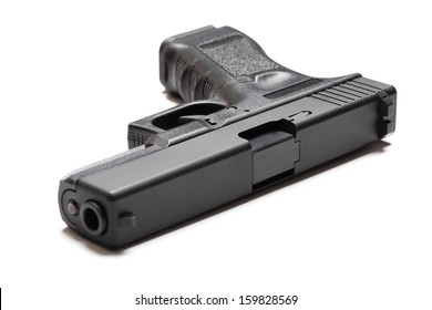 9mm semi-automatic pistol on white background