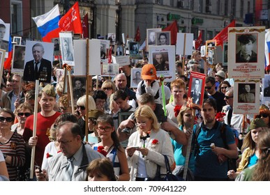 9th of May 2015 - Crowd of people from the Immortal Regiment in Moscow