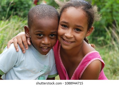 9th of November 2013 - Scene from Cuban suburb with close up of two local kids, Santa Clara, Cuba
