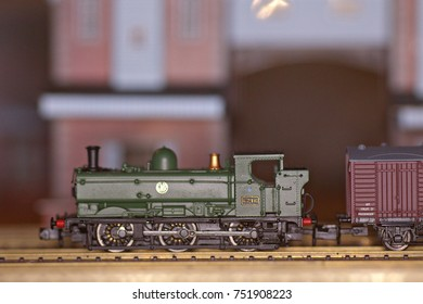 9th November 2017- A model Pannier Tank Engine in n gauge on a layout being constructed in Laugharne, Carmarthenshire, Wales, UK.