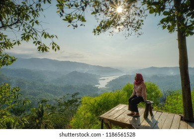 9th Sept,  2018. Kulonprogo Yogyakarta.  Enjoy the beauty of Sermo Reservoir and the sunrise from Cendana Hill.