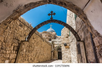 The 9th station of the cross in Via Dolorosa at the entree to the Coptic Orthodox Patriarchate, St. Anthony Coptic Monastery,  in Old City East Jerusalem