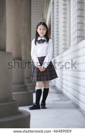 Year Old Asian School Girl In School Uniform