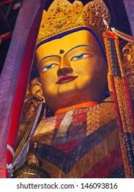 _ SHIGATSE, TIBET-NOVEMBER 16: big Buddha inside Tashilhumpo  monastery. Founded in 1447 it is one of the most important monastery in Tibet. November 16, 2004 Shigatse, Tibet