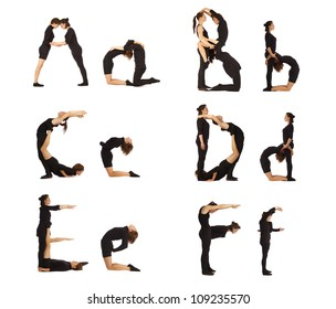 A, B, C, D, E and F abc letters formed by humans