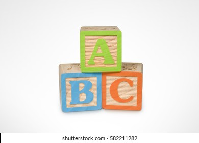A, B, C Wooden Learning Blocks (with clipping path)