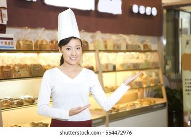 A bakery saleswoman