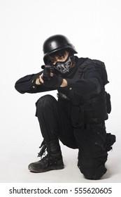 A Cosplay men in uniform holding simulation gun