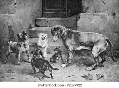 """""""A friend in need."""" Engraving by Reichert . Published in magazine """"Niva"""", publishing house A.F. Marx, St. Petersburg, Russia, 1893"""