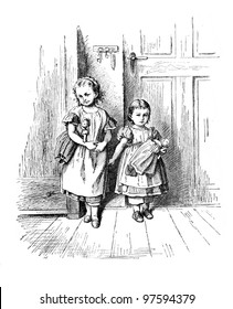 """A shy child"" - engraving by Oscar Pletsch. Published in Little Folks book, London, 1865"
