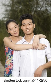 A young couple in the park for an outing