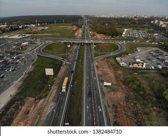 A1 main highway in Lithuania aerial view in Silainiai, Kaunas, Lithuania
