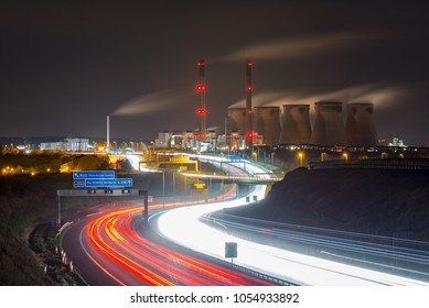 A1 motorway leading to the M62 with Ferrybridge Power Station at Night on a long exposure