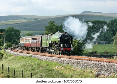 A1 Steam Locomotive Tornado with a Carlisle to Crewe Railtour - Hellifield, Yorkshire, United Kingdom - 24th June 2010