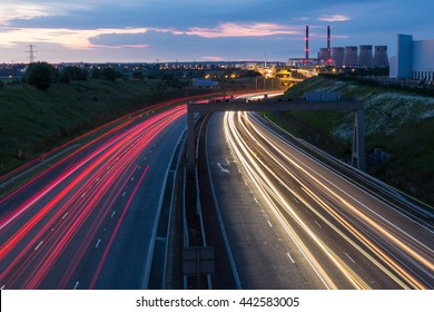 The A1(M) motorway near Ferrybridge Power Station at night
