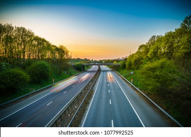 A1(M) motorway near Stevenage junction at sunset. United Kingdom