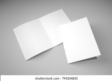 A2 brochure blank white template for presentation and design.3D illustration