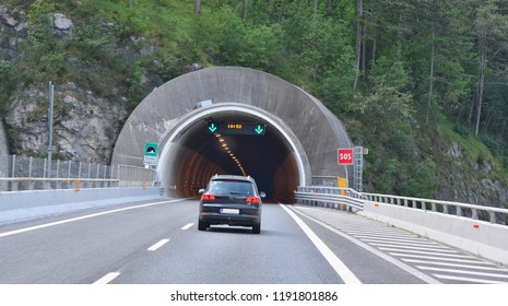 the A23 motorway runs through the Alps, Italy