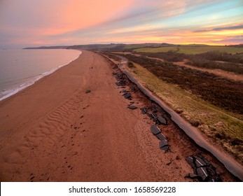 The A379 coastal road at Slapton in South Devon, UK, During the weekend Storm Emma hit destroying the road