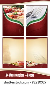 A4 4 pages Menu template - Italian restaurant. Front anf back page and two middle pages, but you can create as many as you like. Just place your dishes and prices