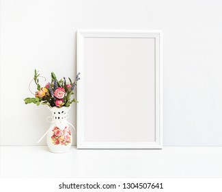 A4 A3 White Frame Mockup on the Table, Template Art Works