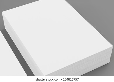 A4 Blank paper stack with soft shadows  isolated on grey background