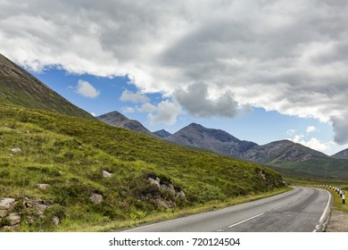 The  A87 highway at the foot of Glamaig Mountain on the Isle of Skye in Scotland.