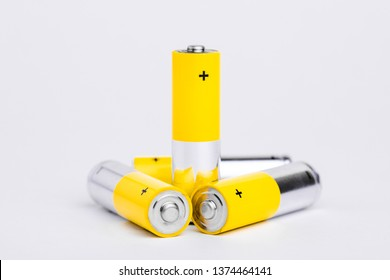 AA alkaline batteries on white background