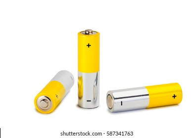 AA Batteries Closeup on white Background