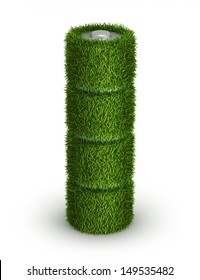 AA battery from grass with cells green energy concept