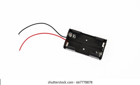 AA Battery holder case isolated on white background.