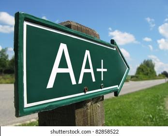 AA+ (credit rating) signpost along a rural road