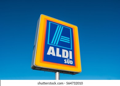 AAACHEN, GERMANY JANUARY, 2017: Aldi Süd logo against blue sky in germany  The German-based discount supermarket chain currently operates over 10,000 stores.