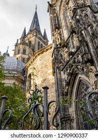 Aachen Cathedral exterior partial view, in Aachen, Germany