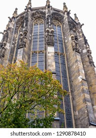 Aachen Cathedral Gothic choir autumn exterior view, in Aachen, Germany