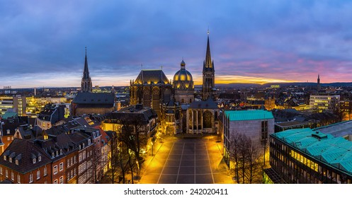 Aachen cathedral at sunset panorama in germany