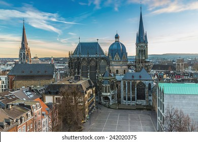 Aachen Cathedral in winter with sun dawn in aix-la-chapelle germany