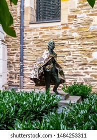 AACHEN, GERMANY - AUGUST 06, 2013: Statue of Stephen I from 1993 by the Hungarian artist Imre Varga, gift from Hungarian pilgrims at the courtyard of the Aachen Cathedral