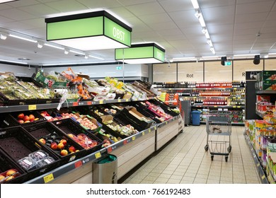 AACHEN, GERMANY - AUGUST 12, 2017: Vegetable department of an Aldi Sud discount supermarket.
