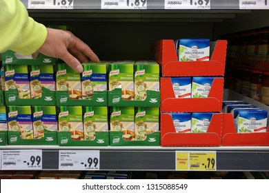 AACHEN, GERMANY - AUGUST 14, 2017: Knorr ready-to-use packagings Hollandaise sauce and Béarnaise sauce on a shelf of a Kaufland hypermarket.